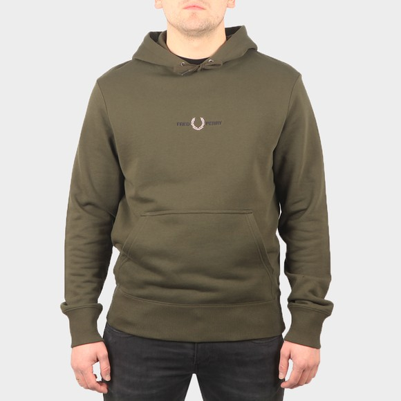 Fred Perry Mens Green Embroidered Hooded Sweatshirt main image