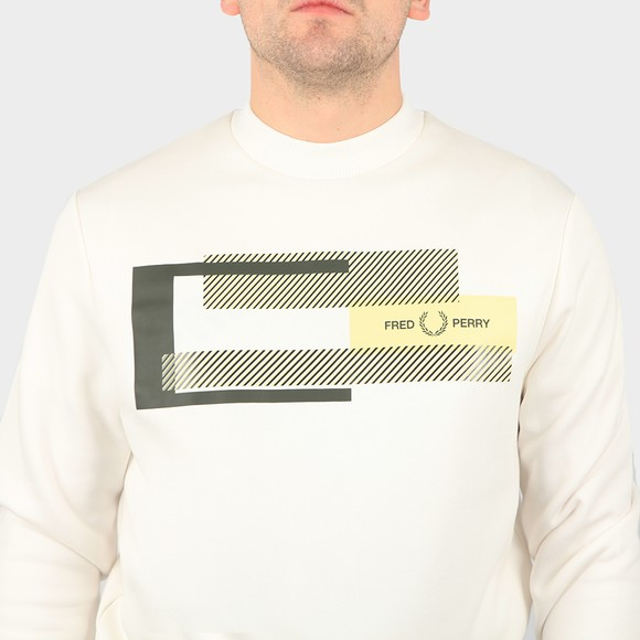 Fred Perry Mens Off-White Mixed Graphic Sweatshirt main image
