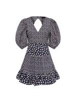 Aura Ditsy Poplin V Neck Dress