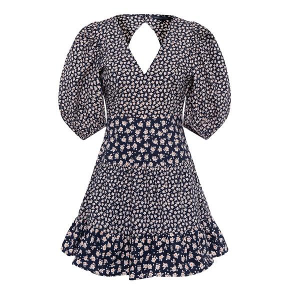 French Connection Womens Blue Aura Ditsy Poplin V Neck Dress