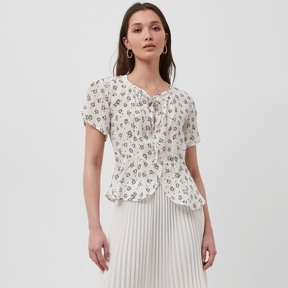 French Connection Womens White Aura Scatter Drape Gathered Neck Top