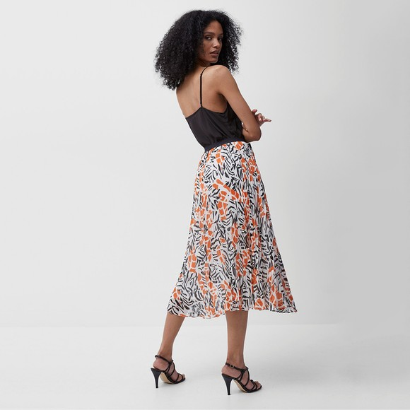 French Connection Womens White Afra Crinkle Pleated Midi Skirt main image