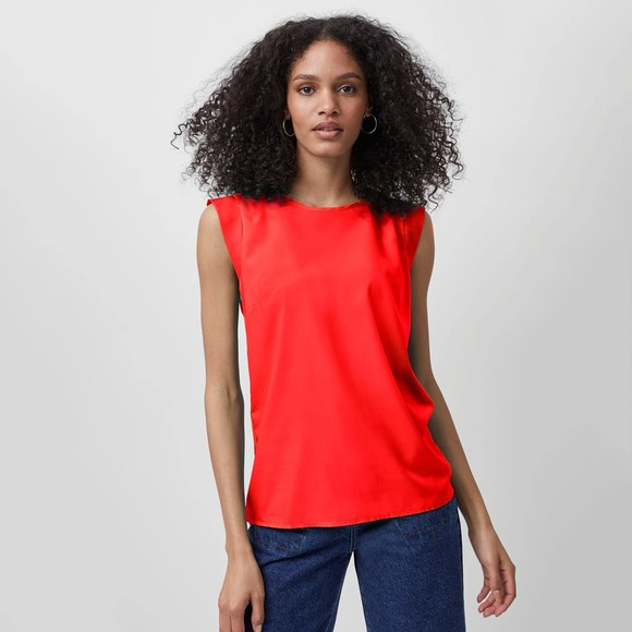 French Connection Womens Red Crepe Light Capped Sleeve T Shirt