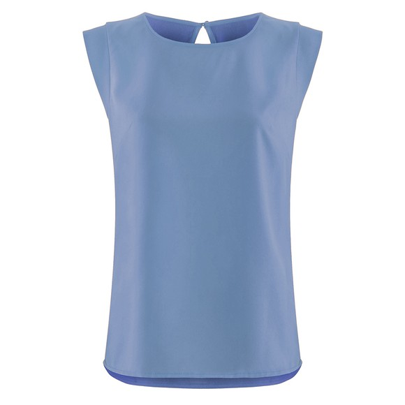 French Connection Womens Blue Crepe Light Capped Sleeve T Shirt