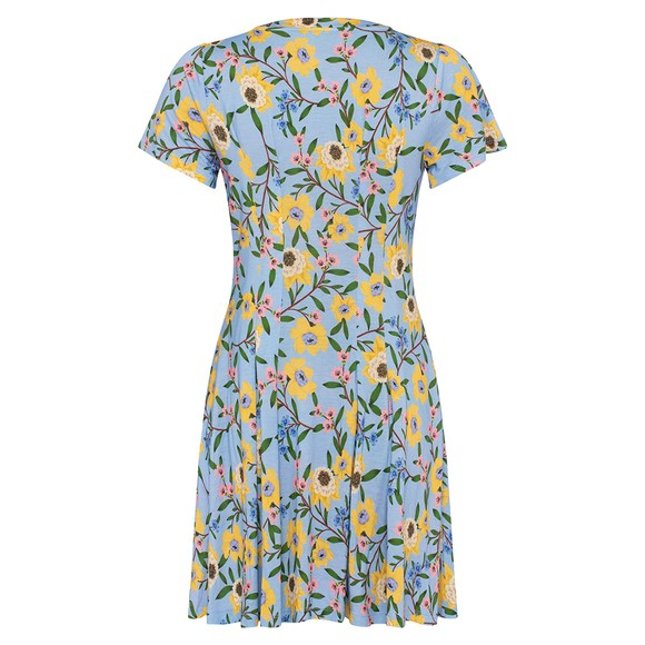 French Connection Womens Blue Eloise Meadow Jersey V Neck Dress