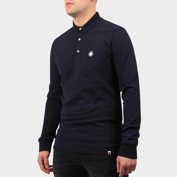 Pretty Green Mens Blue Heavyweight Long Sleeve Polo Shirt