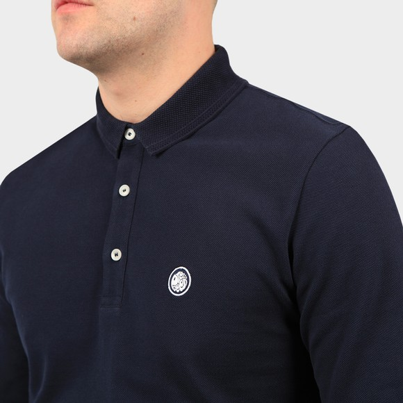 Pretty Green Mens Blue Heavyweight Long Sleeve Polo Shirt main image