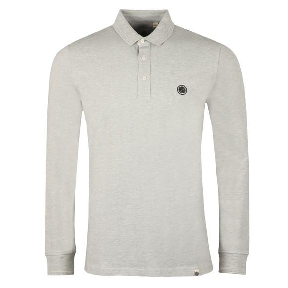 Pretty Green Mens Grey Heavyweight Long Sleeve Polo Shirt main image