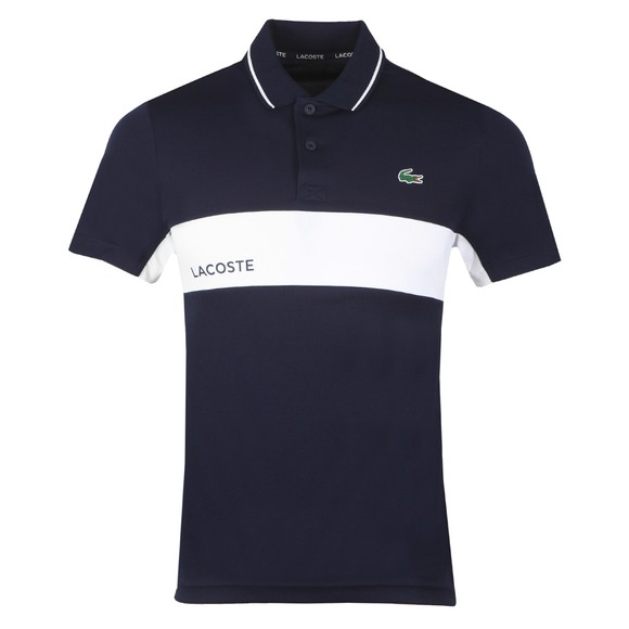 Lacoste Sport Mens Blue DH9583 Tipped Polo Shirt