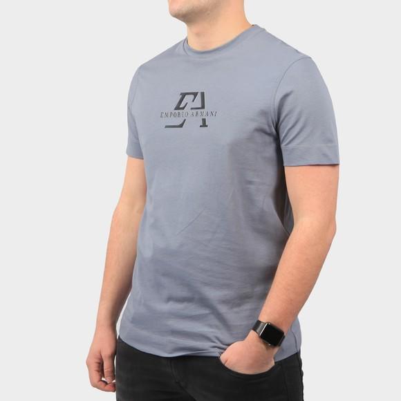 Emporio Armani Mens Blue Raised Logo T Shirt
