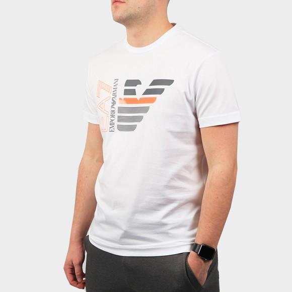 EA7 Emporio Armani Mens White Large Neon Logo T Shirt