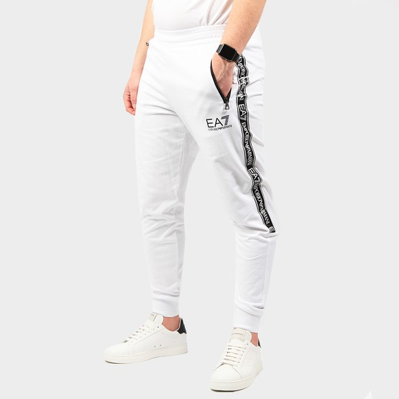 EA7 Emporio Armani Mens White Zip Pocket Tape Logo Jogger