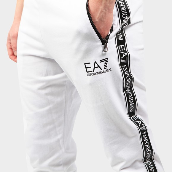 EA7 Emporio Armani Mens White Zip Pocket Tape Logo Jogger main image
