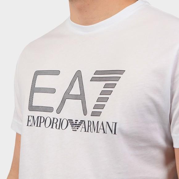 EA7 Emporio Armani Mens White Large Logo Hex T Shirt main image