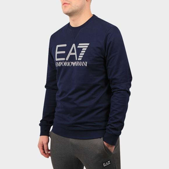 EA7 Emporio Armani Mens Blue Large Logo Hex Sweatshirt