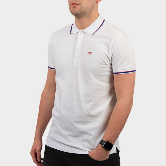 Diesel Mens White New Randy Tipped Polo Shirt