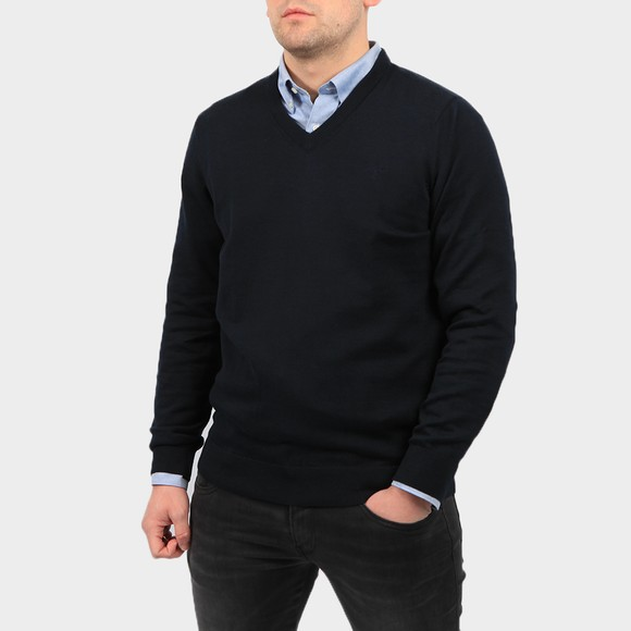 Barbour Lifestyle Mens Blue Pima Cotton V Neck Jumper