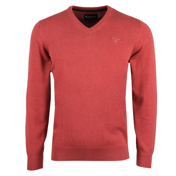 Barbour Lifestyle Mens Red Pima Cotton V Neck Jumper