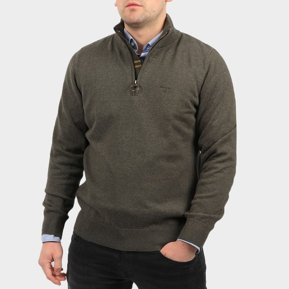 Barbour Lifestyle Mens Green Cotton Half Zip Jumper