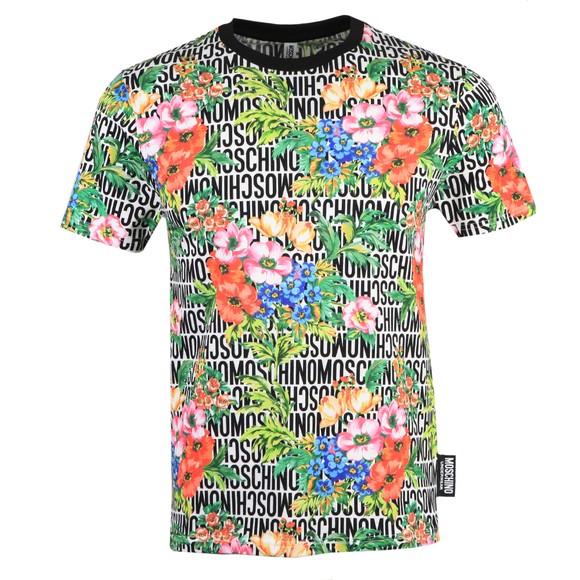 Moschino Mens Multicoloured Floral Logo T Shirt