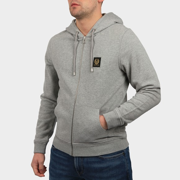 Belstaff Mens Grey Patch Logo Zip Hoody