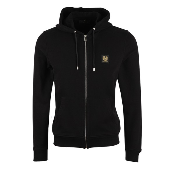 Belstaff Mens Black Patch Logo Zip Hoody