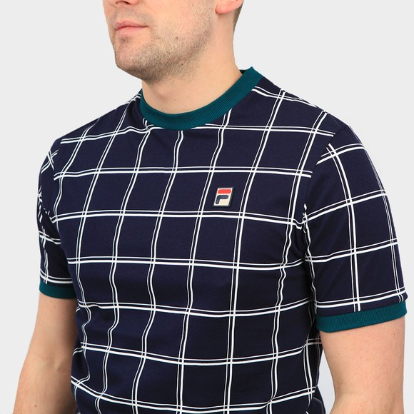 Fila Mens Blue Slate Window Pane Print T Shirt main image
