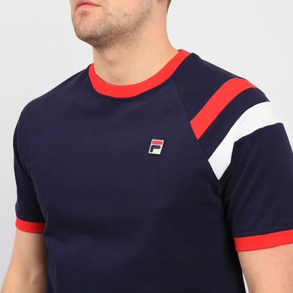 Fila Mens Blue Roger Raglan Sleeve Double Stripe T Shirt main image