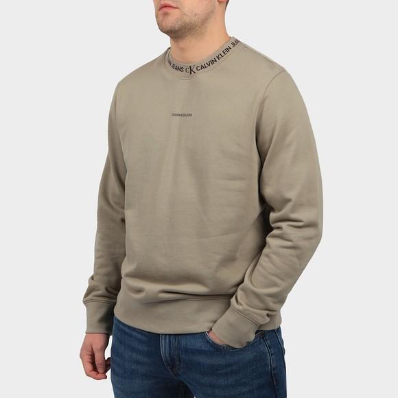 Calvin Klein Jeans Mens Grey Logo Jacquard Sweatshirt