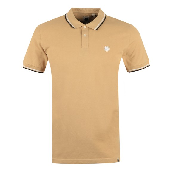 Pretty Green Mens Beige Tipped Pique Polo Shirt