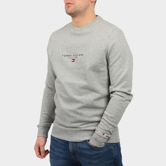 Tommy Hilfiger Mens Grey Essential Tommy Crew Sweatshirt