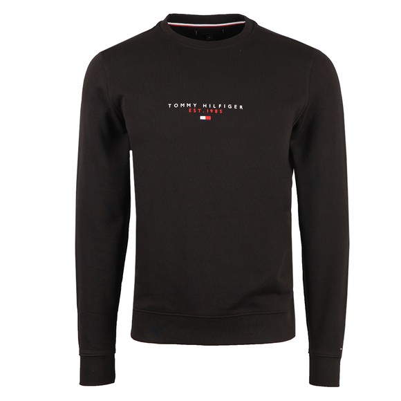 Tommy Hilfiger Mens Black Essential Tommy Crew Sweatshirt