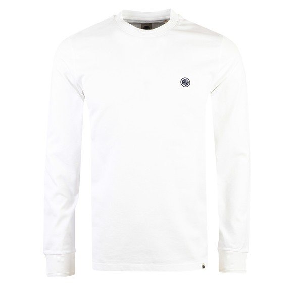 Pretty Green Mens White Heavyweight Jersey LS T-Shirt main image