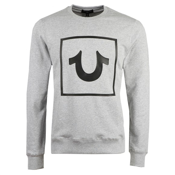 True Religion Mens Grey Horseshoe Crew Neck Sweatshirt