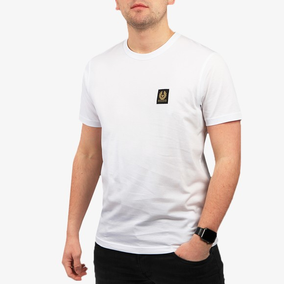 Belstaff Mens White Patch Logo T Shirt