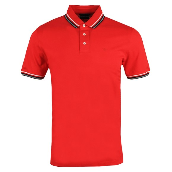 Emporio Armani Mens Red Tipped Polo Shirt