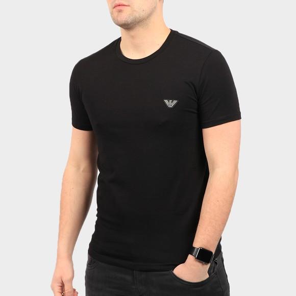 Emporio Armani Mens Black Embroidered Eagle Logo Stretch T Shirt