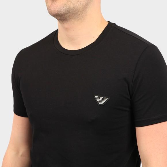 Emporio Armani Mens Black Embroidered Eagle Logo Stretch T Shirt main image