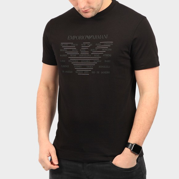 Emporio Armani Mens Black Eagle City Logo T Shirt