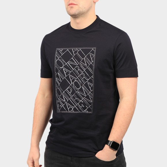 Emporio Armani Mens Blue Stitch Logo T Shirt