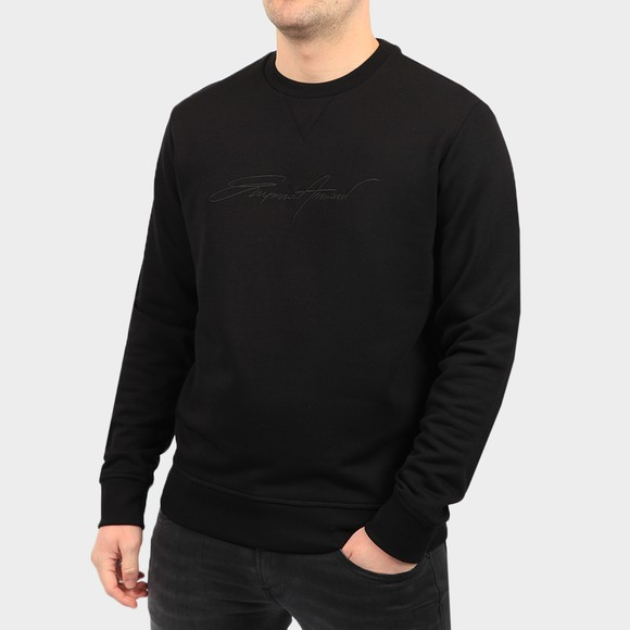 Emporio Armani Mens Black Signature Crew Neck Sweatshirt