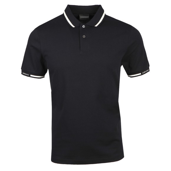 Emporio Armani Mens Blue Tipped Sleeve Logo Polo Shirt main image