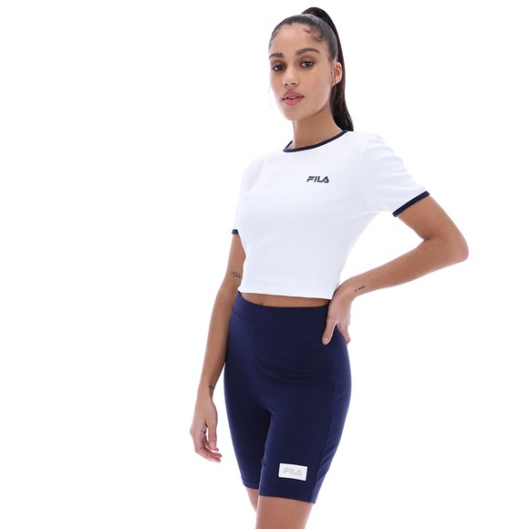 Fila Womens White Perla Ribbed Cropped T Shirt