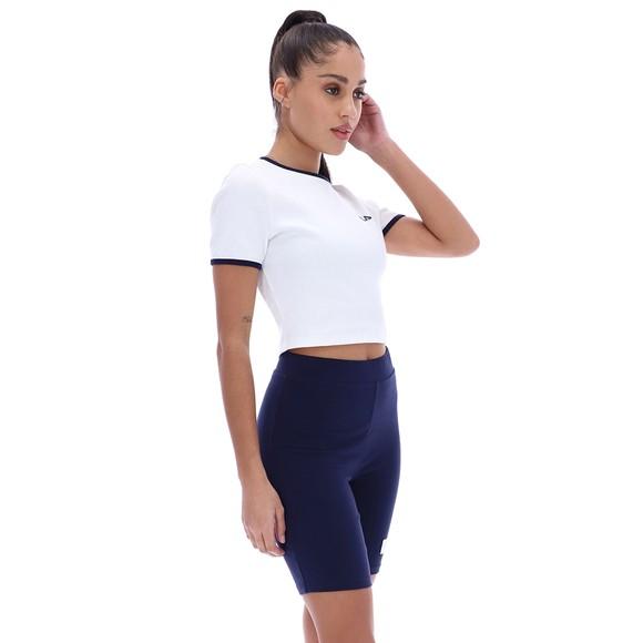 Fila Womens White Perla Ribbed Cropped T Shirt main image