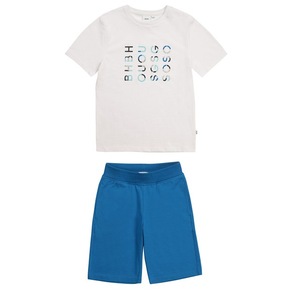 BOSS Boys White J28083 Logo T Shirt & Short Set