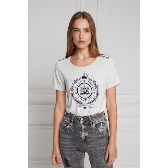 Holland Cooper Womens Grey Ornate Crest T Shirt