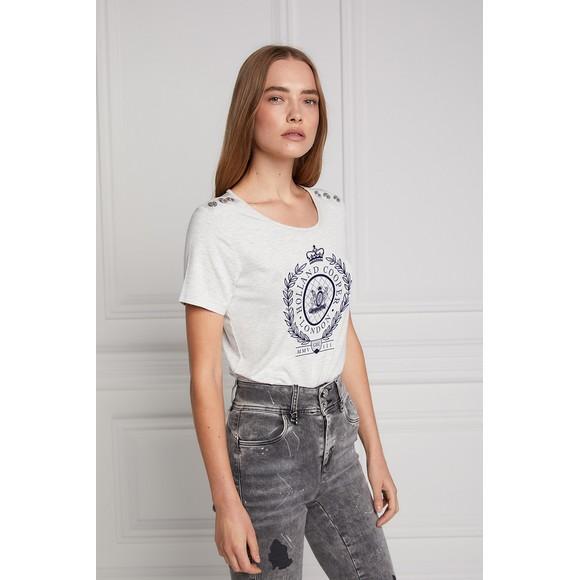 Holland Cooper Womens Grey Ornate Crest T Shirt main image