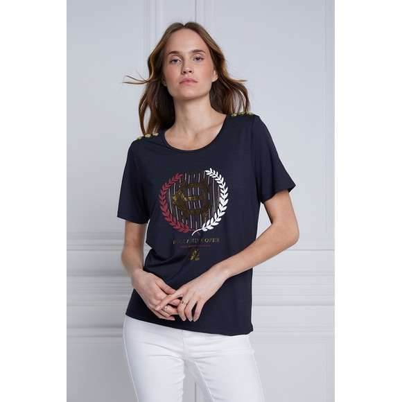 Holland Cooper Womens Blue Heritage Laurel T Shirt