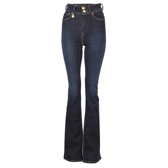 Holland Cooper Womens Blue High Rise Flared Jean
