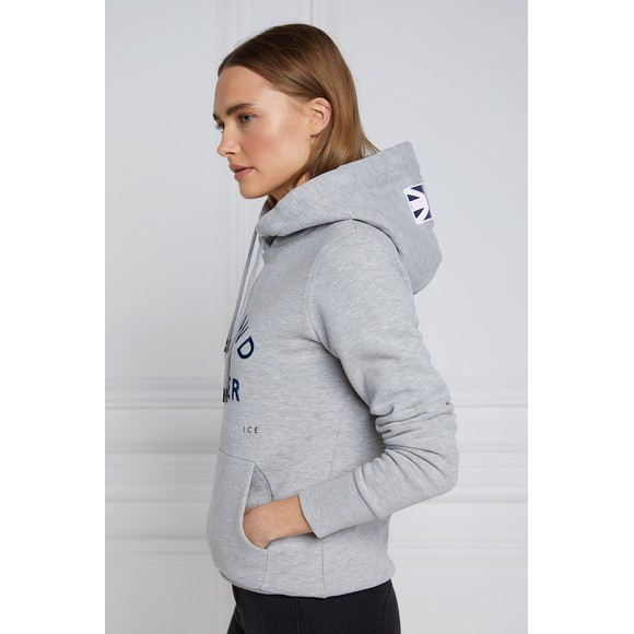 Holland Cooper Womens Grey GBE Flock Logo Hoody main image